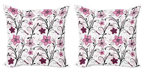 ABAKUHAUS Libelle Kissenbezug Set (2Stück), Shabby Pflanze Röschen, doppelseitiges Digitaldruckdekor mit Reißverschluss, 40 cm, Blassrosa Getrocknete Rose