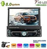 Podofo Autoradio Bluetooth Car Stereo 2 DIN 7 Touch Screen lettore multimediale Player Radio FM Mirror Link con scheda AUX//USB//TF Telecamera retromarcia a 12 LED inclusa