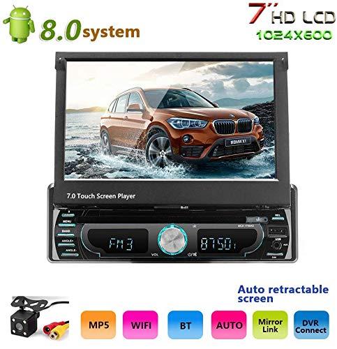 Podofo Android 8.0 Stereo per auto con telecamera retromarcia 4 LED 7 pollici nel touch screen Navigazione GPS Lettore DVD 1 Din autoradio FM / AM/ AUX / FM / USB / MP3 / MP4