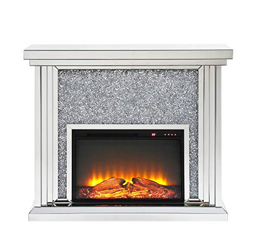 Best Bargain ACME Furniture Noralie Fireplace, Mirrored and Faux Diamonds