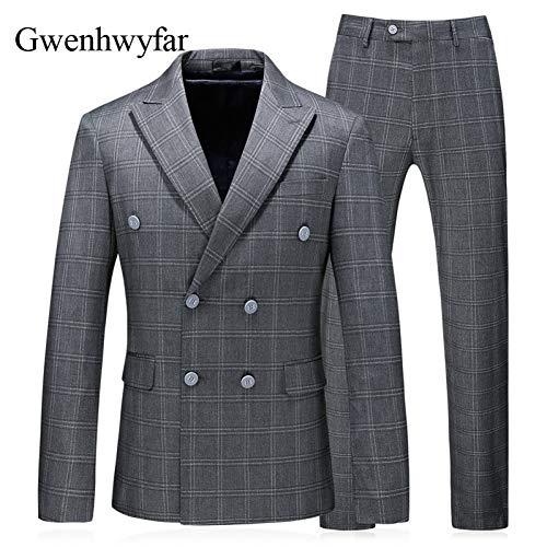GFRBJK Zweireiher Grauer Streifen Herren Anzüge Fashion Business Männer Formelle Party Prom Wear Smoking Blazer Weste Hosen (Bild Farbe) L