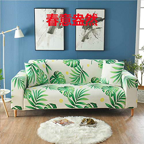 RFEGEF Slipcover Sofa Cover,Super Stretch Couch Cover Green Tropical Leaf Print White Universal Elastic Sofa Covers for Kids Dogs Pet Living Room Furniture Protector Friendly,S:90,140Cm(35,55Inch)