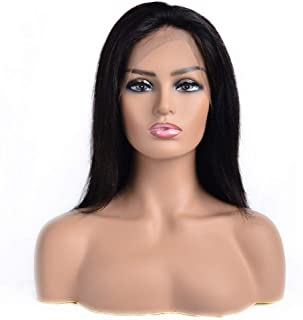 FABA Human Hair Wig 13x4 Lace Frontal Straight Human Virgin Hair Pre Plucked Hairline with Baby Hair 150% Density Full End Natural Black Color (14 inch, Straight)