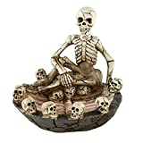 Cenicero a prueba de viento portátil, decoración resina cenicero, cráneo cenicero cráneo y diversión gusto la decoración de la sala de estar, suministros de halloween, no se desvanecen para hombres De