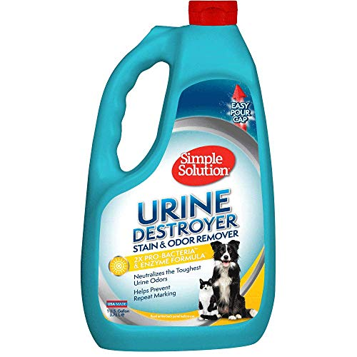 Simple Solution Pet Urine Destroyer   Enzymatic Cleaner with 2X Pro-Bacteria Cleaning Power   Targets Urine Stains and Odors   1 Gallon
