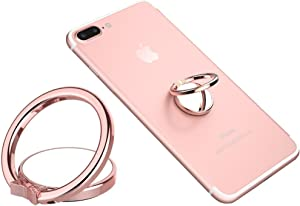 Phone Ring Finger Holder, Stand, Mirror - MAXIMEST 360 Rotation Grip and Kickstand Accessory, Compatible with All Smartphones, iPhone, Samsung Galaxy S, Note, Z Fold, Flip, Tablets, iPad (Rose Gold)