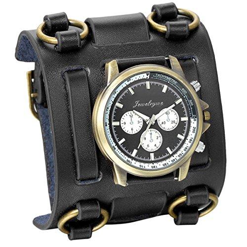 JewelryWe Montre Homme Sport Quartz Analogique Cadran Décoration Trois Yeux Chronomètre Noir Bracelet Cuir Alliage avec Sac Cadeau