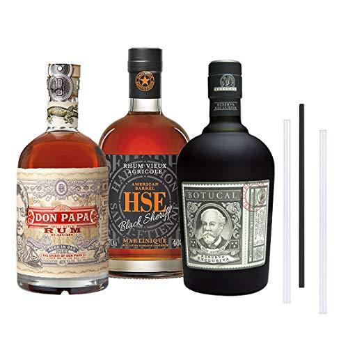 Don Papa Rum, Botucal Reserva Rum und HSE Black Sheriff Rum - Das 3+3 Rum Set, inkl. 3 Glasdrinkhalme (3x0,7l)