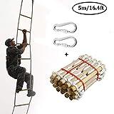 Ridecle 5m Rettungsleiter Feuerleiter Fluchtleiter Kletterleiter aus Holz Outdoor Weiche