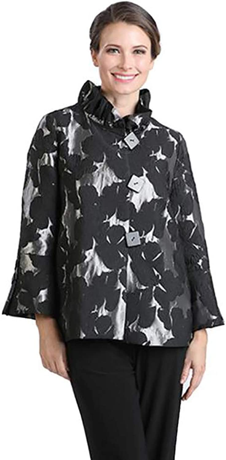IC Collection Floral Brocade Ruffle Collar Jacket in Silver Black  2094J