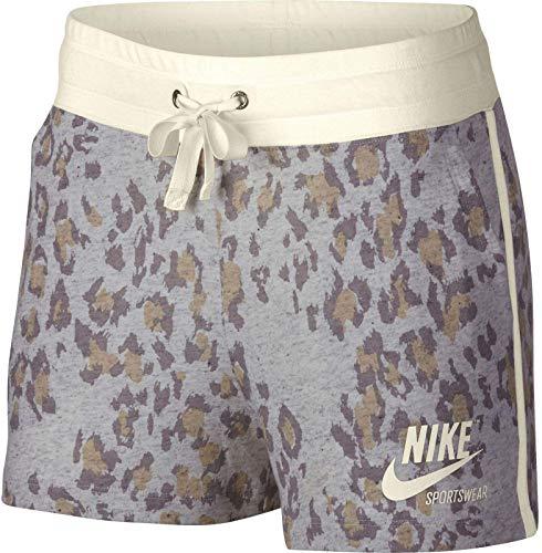 NIKE W NSW Gym VNTG Short Leopard Pantalón, Mujer, Atmosphere Grey/Sail/Sail, M
