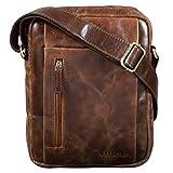 STILORD 'Irving' Vintage Leder Tasche Braun klein Umhängetasche für 10,1 Zoll und iPad Tablettasche DIN A5 Handtasche Messenger Bag Echtleder, Farbe:antik - braun