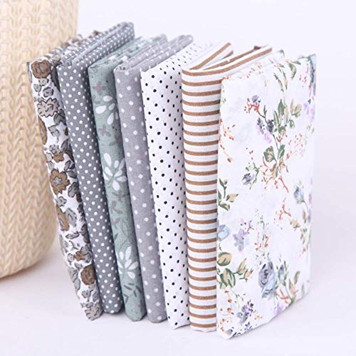 Katoenen stof met bloemenballen om zelf te maken, van katoen, voor knutselwerk, patchwork, stof, 7 stuks, bloemendruk, voor gordijn, tafelkleed, stof van katoen Grijs