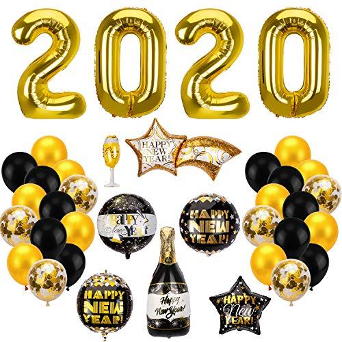 SAVITA 37stk Luftballon Dekor für 2020 Neujahr Silvester, inkl 2020 Golden Ballon, Golden und Schwarzen Latexballon, Weißen Konfetti-Ballon, Meteor Stern Runde Champagner Becherform Luftballon