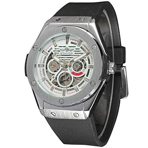 PIJSOADM Relojes para Hombre SiliconeStrapWatchFashionMenTopSkeletonAutomaticWinnerMechanical Watch