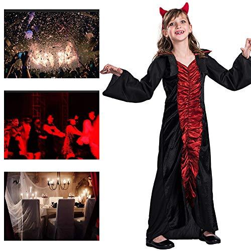 JH&MM Halloween Kinderkleidung Mädchen Teufel Plissee Overall Kleid Cosplay Party Game Maskerade Kostüm,S