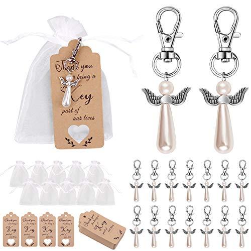 Minterest 38 Stück Schlüsselanhänger Schutzengel, Schutzengel Schlüsselanhänger Mit Danke Tag Candy Bag Beutel für Gast Rustikale Hochzeitsdekorationen Party Rückkehr Geschenke Hochzeitsgeschenke