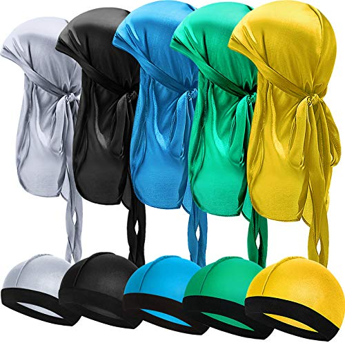 10 Pieces Kids Satin Silk Durag with Wave Caps Set Unisex Baby Durags 360 Wave Wide Strap Headwraps Long Tail Turban Beanies (Silver, Black, Light Blue, Green, Yellow)