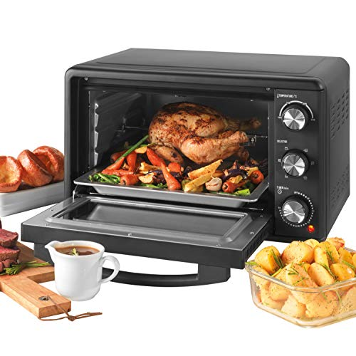 Salter® EK4360 25L Mini Oven, Compact Electric Tabletop Toaster Oven, 1500 W, Includes Baking Tray & Wire Rack, Variable Temperature 100-230°C, Large Viewing Window, 60 Minute Timer