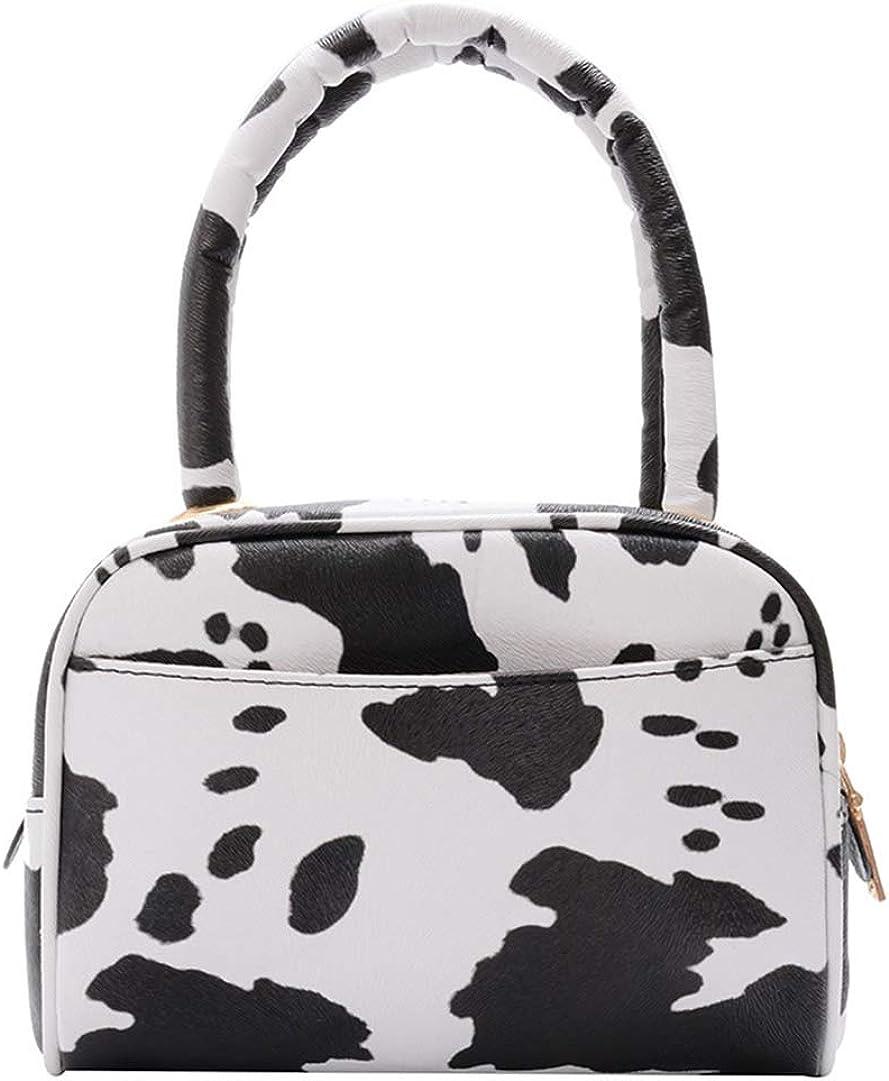 Women Stylish Cow Print Bag Small Top Handle Clutch Handbag Zipper Purse