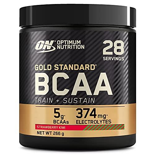 Optimum Nutrition Gold Standard BCAA Pulver, Aminosäuren Komplex Hochdosiert mit Vitamin C, Wellmune, Magnesium und Elektrolyten, BCAAs Pulver von ON, Strawberry Kiwi, 28 Portionen, 266g