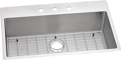 Elkay ECTSRS33229TBG3 Crosstown Single Bowl Dual Mount Stainless Steel Sink Kit