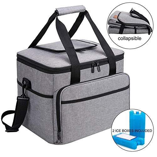 ALLCAMP 30L Kühltasche Faltbare Picknicktasche Thermo Tasche Isoliertasche Kühlkorb Kühlbox isolierbox mit 2 kühlakkus Grau