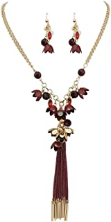 Long 2 Layer Chain Unique Flower Pendant Tassels Necklace Earrings Women Jewelry Set