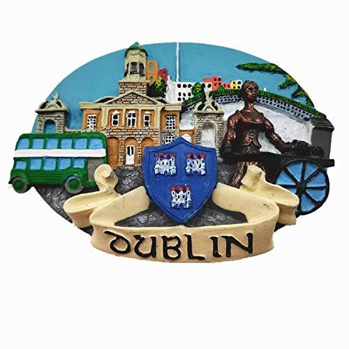 Imán para nevera 3D de Dublín Irlanda, decoración para el hogar y la cocina, pegatina magnética de Dublín, Irlanda, imán para nevera