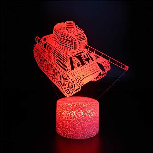 Panzermodell 3D-Nachtlicht-Schreibtischlampe, 7-Farben-Touch-Slide-Lichter, ABS-Basis-Eisriss-Illusionslicht