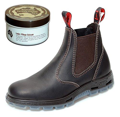 RedbacK UBOK Work Boots aus Australien - Unisex + 250 ml Lederpflege | Claret Brown | UK 6.5 / EU 40.0