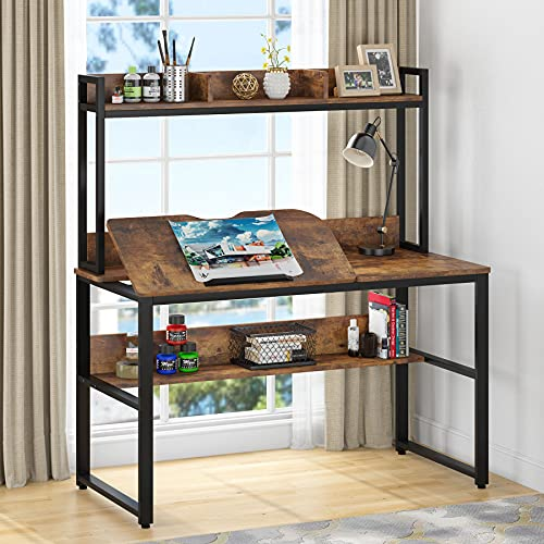 Tribesigns Drafting Computer Desk with Hutch and Storage Shelves, Rustic Home Office Desk with Tiltable Tabletop, Drawing Table Artist Craft Painting Table Workstation for Students, Adults