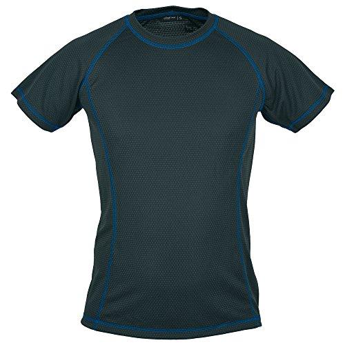 Schwarzwolf outdoor T-Shirt Fonctionnel en Laine Noir pour Homme Coupe ajustée (Noir/Bleu, 3XL)