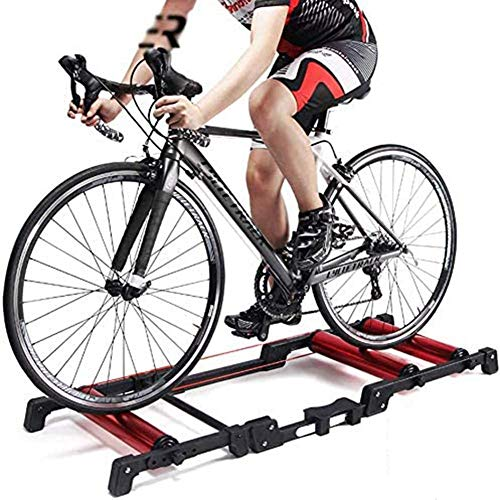 SLRMKK Bicycle Turbo Trainer,Indoor Cycling Roller Riding Platform Bike Trainer Stand Adjustable Training Platform Folding Fitness Equipment for 700C Road Bike Types 24' - 29' Mountain