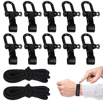 Paracorde Bracelet, 10 Pcs Boucles de Manille Sont Utilisés pour Fabriquer des Bracelets de Survie, Bracelet de Survie Réglable Est très Adapté pour la Randonnée le Camping et la Survie dans la Nature