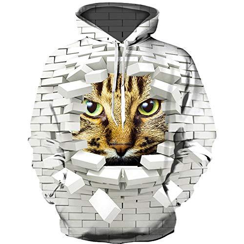 WYxiaobaozi 3D Gedrukt Sweatshirt, Unisex Casual Sweatshirt 3D Gedrukt Dier Witte Muur Tegels En Katten Hoodie Sweater Met Zakken Paar Jacket-Yx0437-Honkbal Uniform Voor Student Top Coat
