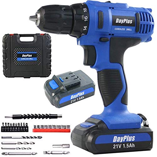 Cordless Drill Set DIY Electric Screwdriver Tail Hammer Kit 21V Portable Driver Kit Power Tool Set 18+1 Torque Variable Speed Fast Charge Lithium Ion Battery, Carry Case, 1/2' Keyless Chuck, LED Light