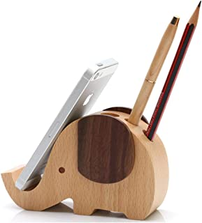 Elephant Shape Wooden Desk Pen Stand/Holder with Mobile/Cell Phone Holder, Perfect Office Desktop Organizer Comes with One Beautiful Design Wooden Pen - by Crystal Collection