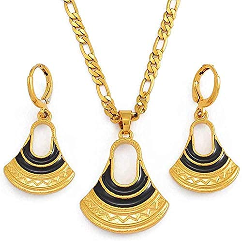 niuziyanfa Co.,ltd Collar con Colgantes de Papua Guinea Negro, Collares y Pendientes para Mujer, joyería de Estilo Tradicional, Longitud 60 cm x 3 mm