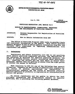 Epa Office Of Pesticide Programs Opp