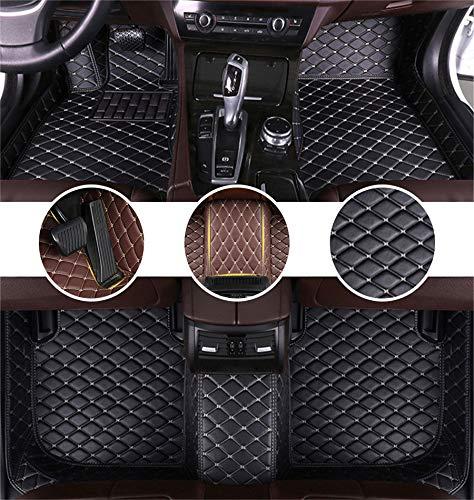 Muchkey AutoFußmattenSetfür Te SLA Model X 7 Seats 2016-2017 FussmattenAll-SchutzLederwasserdichteAutoZubehör Schwarzes&Beige