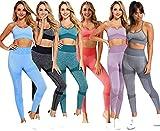 C K CrisKat Set sportivo da donna con reggiseno e pantaloni da yoga, completo di leggings e reggiseno sportivo, completo di reggiseno sportivo completo da yoga, senza cuciture per fitness grigio M