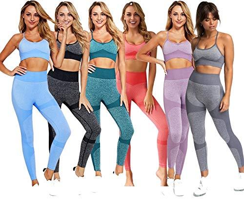 C K CrisKat - Set sportivo da donna, da 2 e 3 pezzi, reggiseno e pantaloni da yoga, tuta sportiva con leggings e reggiseno sportivo, senza cuciture, ideale per fitness Rosa L