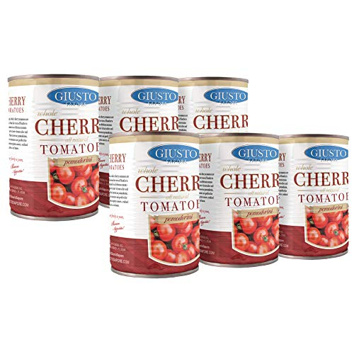 Giusto Sapore All Natural Italian Cherry Tomatoes Pomodorini -14oz- Premium Gourmet Gluten Free Fat Free Non GMO Brand - Imported from Italy and Family Owned - 6 Pack
