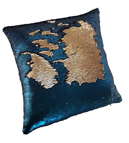Cooles Dekokissen Uni mit Wischfunktion, Paillettenkissen MATT, ca. 45x45cm, untersch. Farben erhältlich (Petrol-Gold)