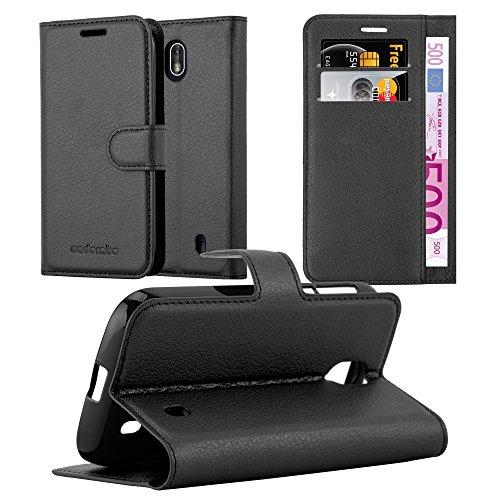 Cadorabo Hülle für Nokia 1-2017 - Hülle in Phantom SCHWARZ – Handyhülle mit Kartenfach & Standfunktion - Hülle Cover Schutzhülle Etui Tasche Book Klapp Style