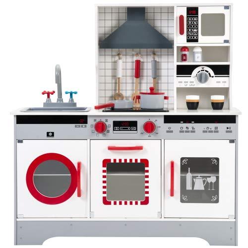 Jamiwe Cocina de juguete de madera, cocina infantil, incluye accesorios (olla, sartén, cubertería de cocina, taza de café, vasos) para niños de más de 3 años, dimensiones: 8 2 x 26,5 x 90 cm (rojo)