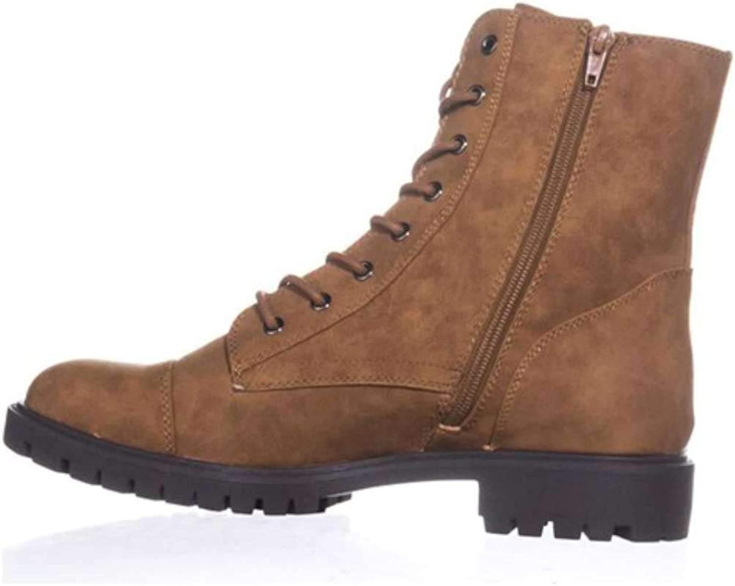 G By Guess Womens Peeder Faux Leather Lace-Up Combat Boots Brown 5 Medium (B,M)