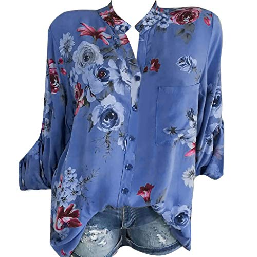 Blusa de manga larga para mujer, elegante, tallas grandes, diseño de flores, escote en V, parte superior de camiseta, casual, vintage, floral azul EU-46/CN-3XL