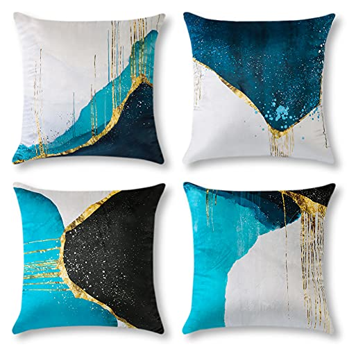 Artscope Fundas de almohada de mármol verde azulado, azul con patrón de corteza abstracta dorado, fundas de almohada para el coche, sofá, cama, sofá, terciopelo, 45,7 x 45,7 cm, juego de 4